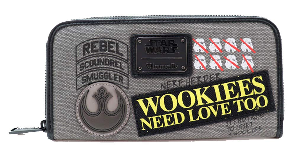Cartera Denim Star Wars dise/ño Wookie con Parches LOUNGEFLY