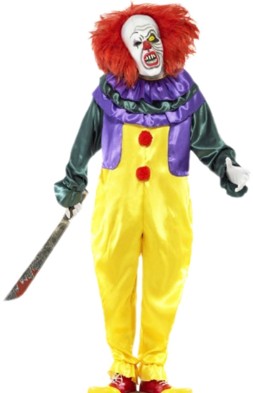 erdbeerloft–Costume de clown avec Jumpsuit et masque avec cheveux, M–L, Jaune