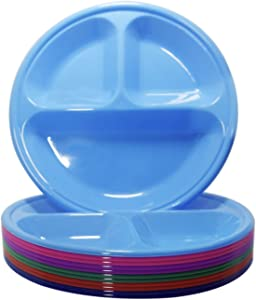 Klickpick Home - Compartment Divided Plates for Kids - Set of 12 Plastic Children Trays for Eating with Dividers - 6 Bright Colors - 2 of Each Color Dishwasher Microwave Safe BPA Free for Toddlers