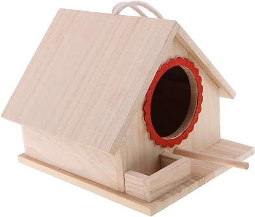 LOVIVER Casa de Madera para Pájaros Nido Caja con Cuerda - 19x 16x 14cm: Amazon.es: Jardín