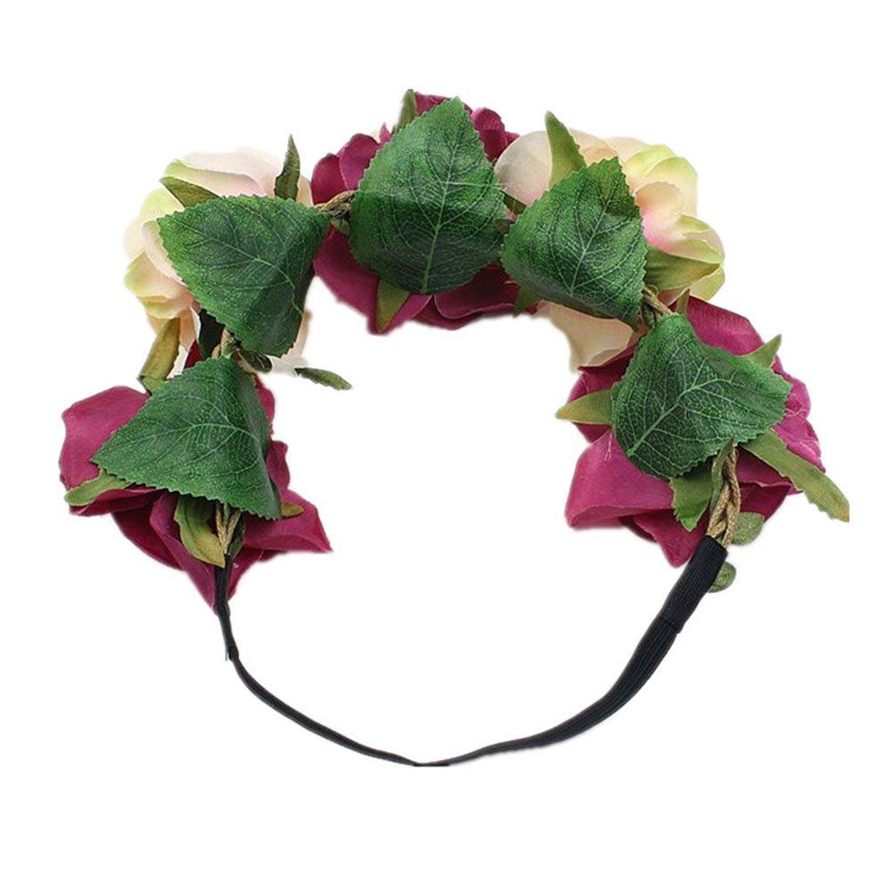 Diadema de Flor Guirnalda Mujer Floral Venda de Pelo Alta Elasticidad Rosas y Hoja Corona Guirnalda para Fiesta de Boda Featival Lumanuby