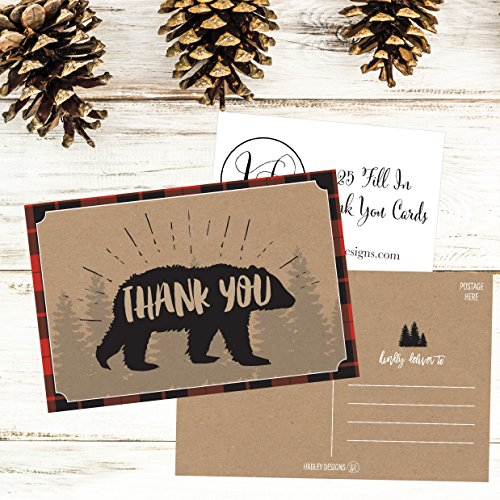 25 4x6 Blank Woodland Christmas Holiday Thank You Postcards Bulk, Cute Kraft Winter Snowflake Note Card Stationery For Wedding, Bridesmaids, Bridal or Baby Shower, Teachers, Religious, Business Cards Photo #6