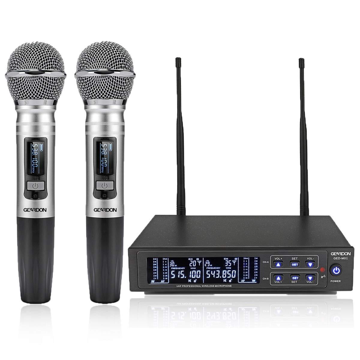 GEARDON Dual Wireless Microphone System, 200 Channel UHF Metal Cordless Handheld Mic Set with 250ft Long Range Professional Performance for Presentation/Church/Karaoke by GEARDON