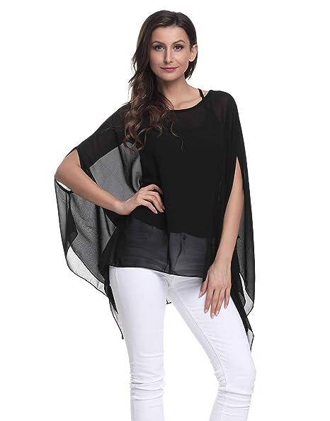 7355b94ce86ce3 Wiwish Women s Baggy Solid Sheer Chiffon Caftan Poncho Plus Size Batwing Tunic  Top Blouse
