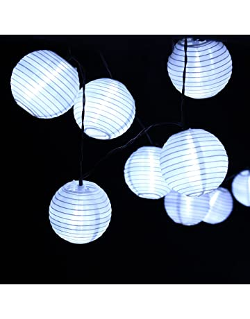 Qedertek Guirnaldas Luces Exterior Solares de Farolillos, Cadena de luces 6M 30 Farol, Guirnalda