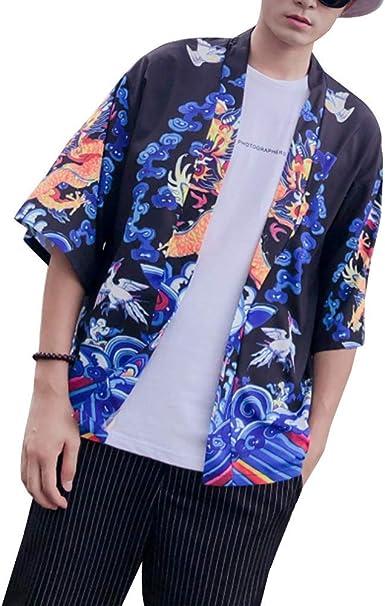 Hombre Cárdigan Kimono Manga Corta Estampado Japonesa Jacket ...