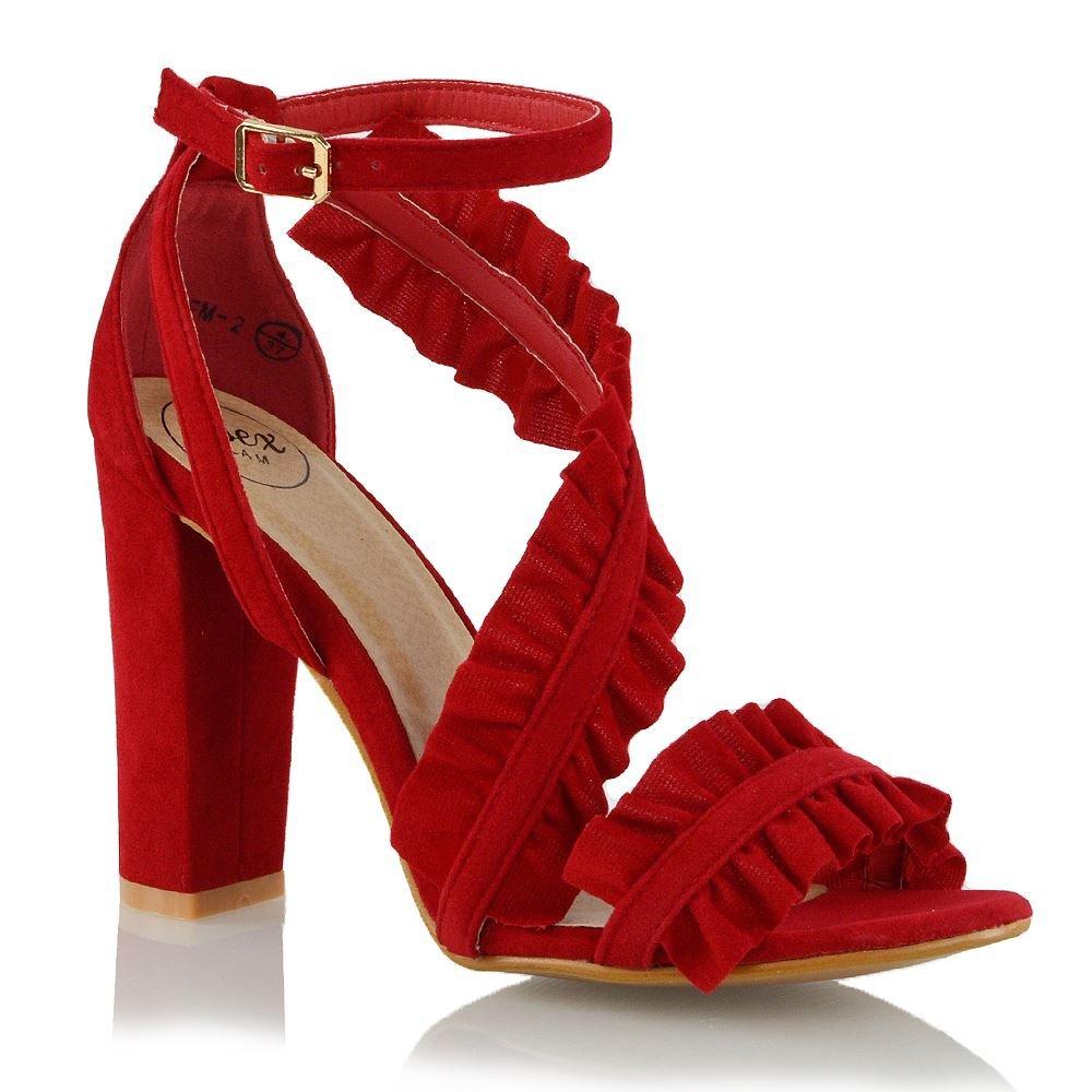 ESSEX GLAM Donna Elegante Increspatura Cinturino alla Caviglia Sandalo Le Signore L'alto Tacco Sintetico Sera Formale ScarpeRosso Finto Scamosciato