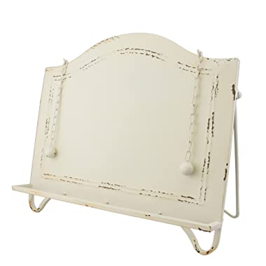 Distressed White Metal Cook Book Holder Cookbook Stand