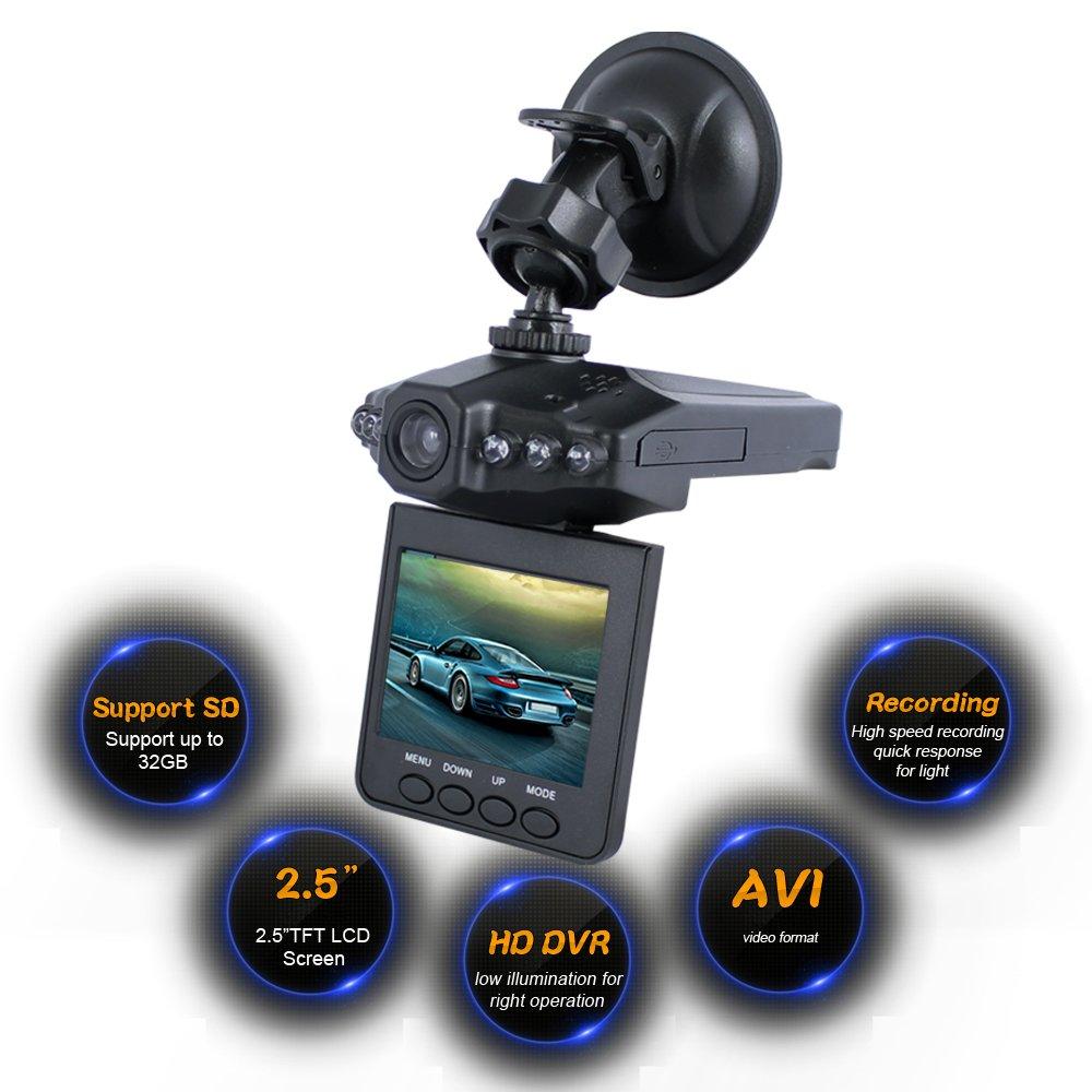 Amazon com lecmal on dash video 2 5 dash cam for cars hd ir dash cam 270 degrees rotatable camera video recorder traffic dashboard camcorder 6d black