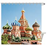 Famous Saint Basil s Cathedral Moscow Russia Red Square Kremlin Palace Famous Colorful Domes Church Home Textile Bath Decor Russian World Monuments Architecture Shower Curtain Blue Green Light Cora