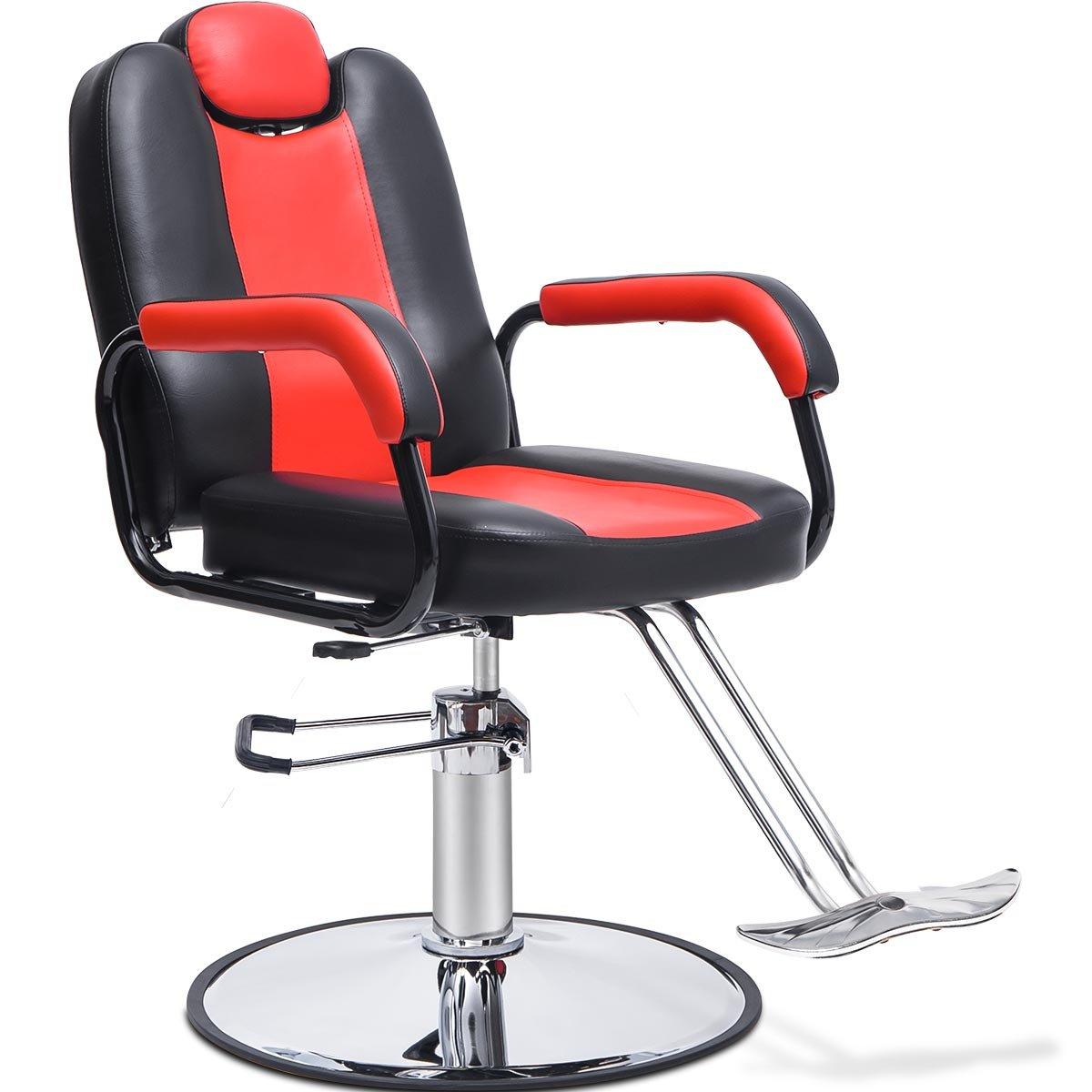 Merax Reclining Hydraulic Barber Chair Styling Salon Beauty Shampoo Spa Equipment (Black& Red Color)