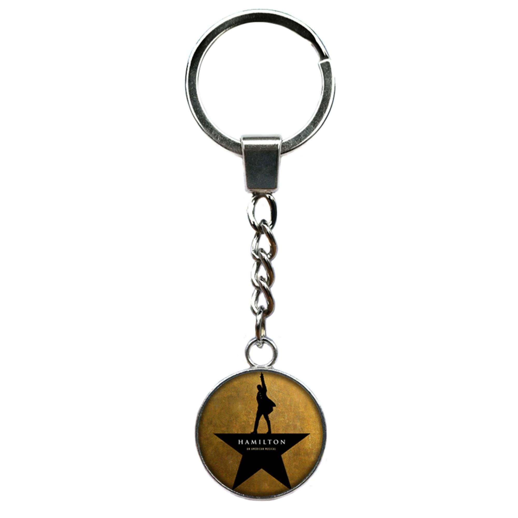 Outlander Brand Hamilton Broadway Musical Premium Quality Silvertone Keychain Key Ring w/Gift Box