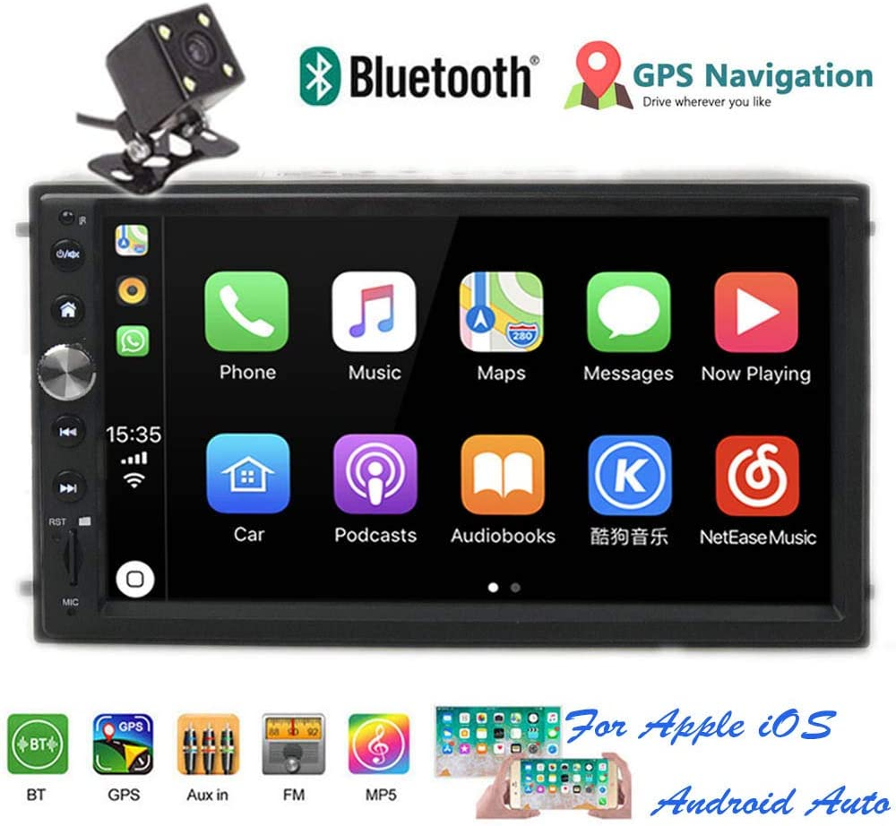 """PolarLander 2Din 7"""" Universal Car Radio Mirror Link for All Smartphone Multimedia Player Universal Car Stereo with Radio,GPS, Bluetooth,Intelligent Voice Control,Rear View Camera"""