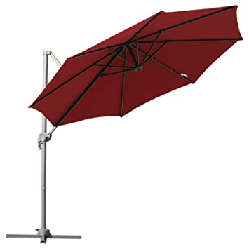 87c7dfade658 Outsunny 3 meter Patio Offset Roma Parasol Umbrella Cantilever Hanging Sun  Shade Canopy Shelter 360° Rotation with Cross Base - Wine Red