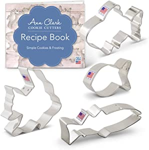 Ann Clark Cookie Cutters 4-Piece Fish Cookie Cutter Set with Recipe Booklet, Cute Fish, Goldfish, Angel Fish