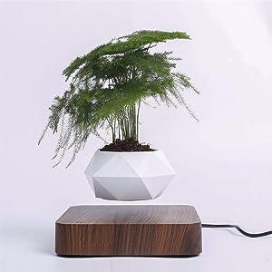 Onlycook Magnetic Suspension Flower Pot Levitating Air Bonsai Pot Plant Pot Succulent Pot Patio Decoration Desktop Flower or Green Plant