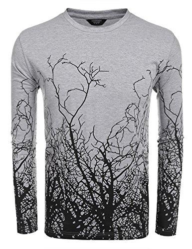 Coofandy Men's Fashion Long Sleeve Shirt Tree Shadow Printed Graphic T-Shirt (XXL, Dark Grey) - Shadow Grey Apparel