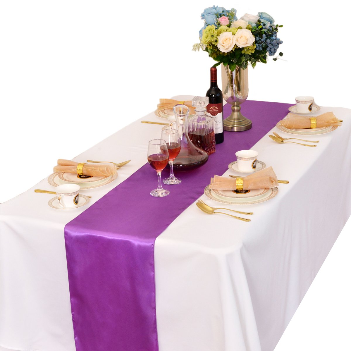 LOVWY 12 x 108 Inch Satin Table Runner 1/5/10/15/20 PCS Wedding Party Banquet Decoration (Colors Optional) (5, Lavender)