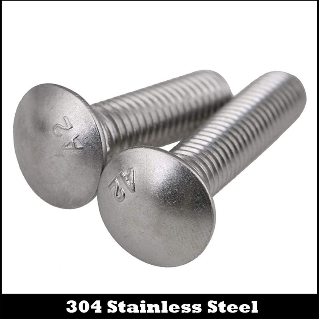 M6 M625//40//45//55 M6x25//40//45//55 304 Stainless Steel SS DIN603 Full Thread Shelf Mushroom Square Head Neck Bolt Carriage Screw 8Pcs 304ss M6x40