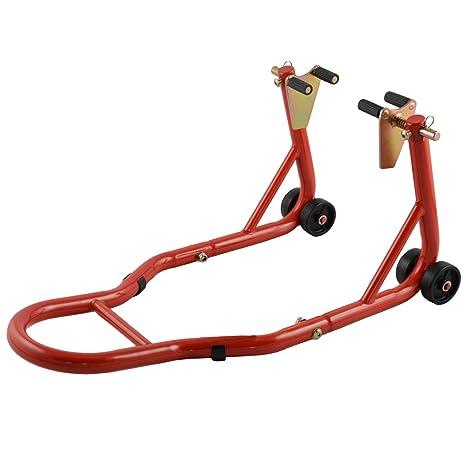 Cavalletto Moto Anteriore Alza Solleva Regolabile 4 Ruote Rosso