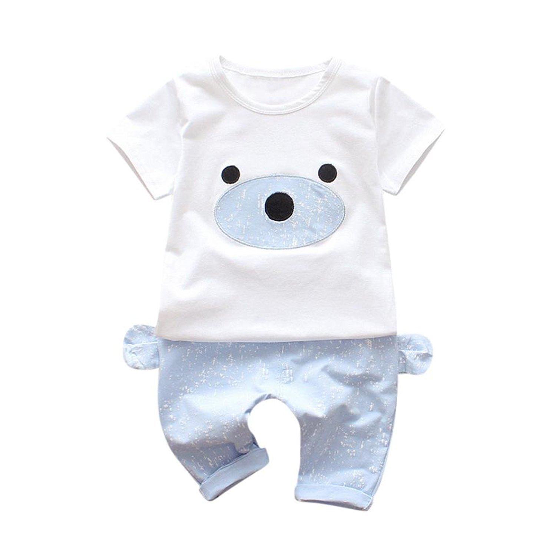 Webla Infant Baby Boys Girls Bear Print Clothes Set Cute T Shirt Tops+Pants Set Ages 0-24 Months