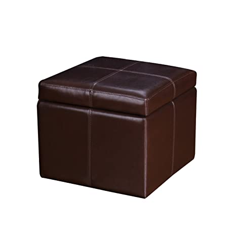 Astounding Joveco Bonded Leather Cross Stitch Square Cube Storage Ottoman Reddish Brown Squirreltailoven Fun Painted Chair Ideas Images Squirreltailovenorg