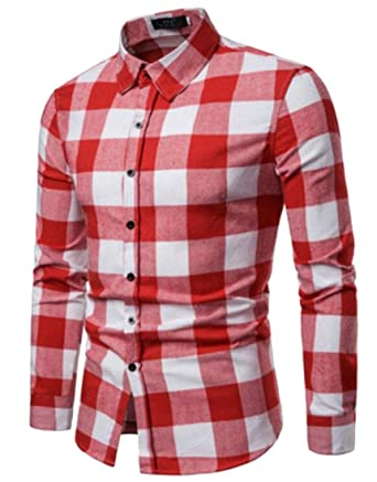 Hower Men Checkered Shirt Long Sleeve Checked Button Down Flannel