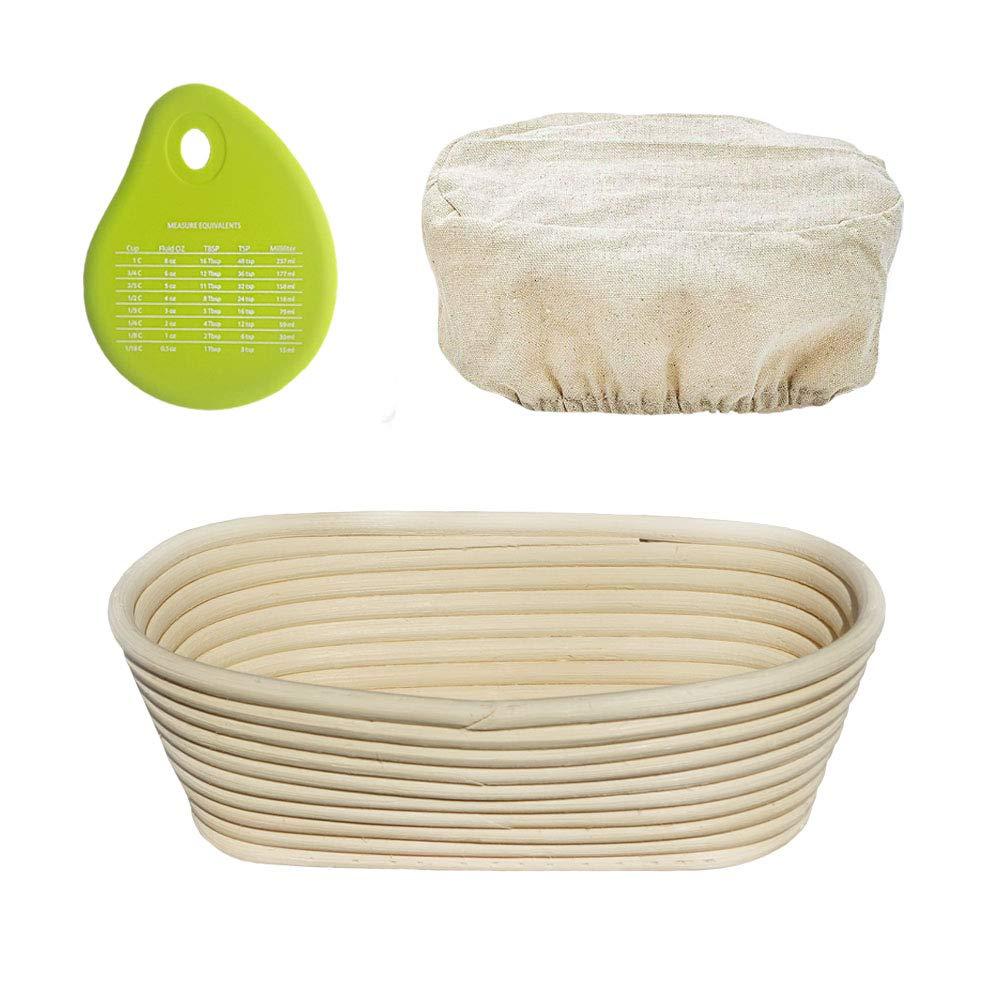 Senpulism Bread Proofing Basket Set, 10 Inch Oval Banneton Bread Proofing Basket for Professional and Home Bakers, Artisan Sourdough Proofing Basket + Cloth Liner + Dough Scraper by Senpulism
