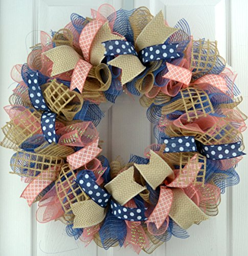 Everyday Wreath | Birthday Gift for Her | Year Round Wreath | Coral Navy Blue Jute Burlap