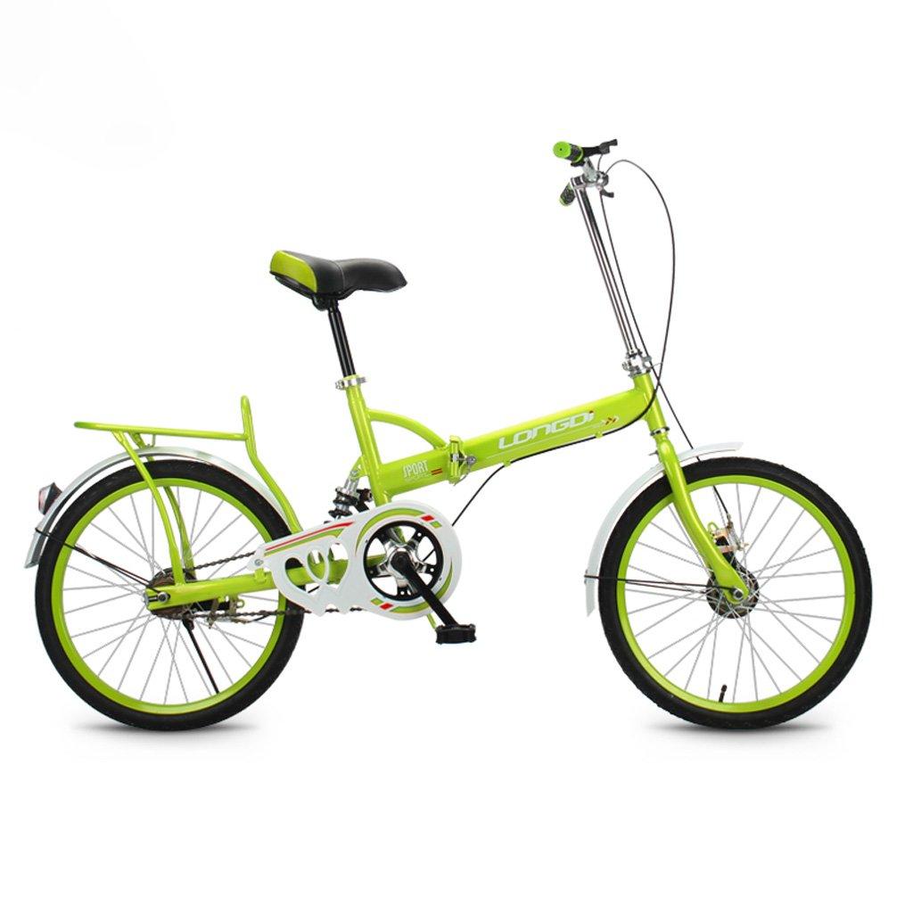 折りたたみ自転車20インチ大人シングルスピードショックアブソーバ高炭素鋼の自転車男性と女性の子供用自転車、ブラック/ブルー/ピンク/グリーン (Color : Green) B07CYNB8Q6