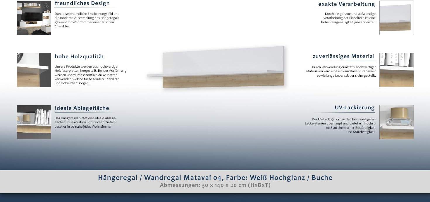 Hangeregal Wandregal Matavai 04 Farbe Weiss Hochglanz Buche 30