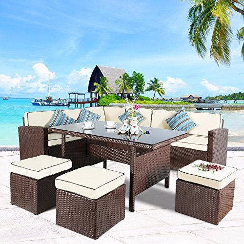Cloud Mountain 7 pc Patio Wicker Rattan Dining Set Outdoor Garden Lawn Conversation Furniture Set Sofa Sectional Cushioned Seat Glass Top Table, Brown Rattan with Creamy White Cushions (Wicker Dining Set)