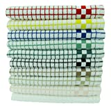 Fecido Classic Kitchen Dish Towels Set - Heavy Duty - Super Absorbent - 100% Cotton - Professional Grade Dish Cloths - European Made Tea Towels - 10 Pack, Multi Color