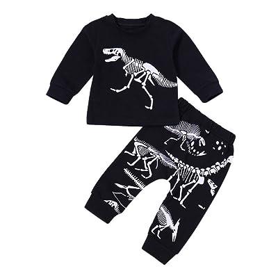 Leedford 2Pcs/Set Toddler Kids Baby Boy Dinosaur Bone Print T-Shirt Tops Pants Trousers Outfits Clothes