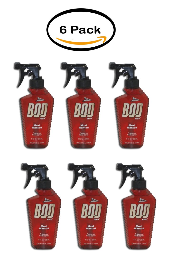 PACK OF 6 - Bod Man Most Wanted Fragrance Body Spray 8.0 Oz / 236 Ml