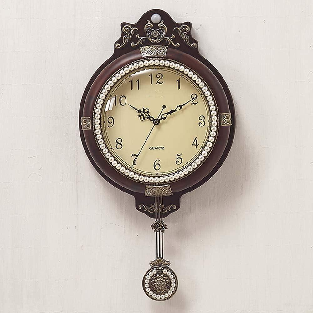 壁掛け時計 クリエイティブインテリジェント時計センセーションルミナス表ウォールクロック手作りのリビングルームLEDライトミュートレトロ53 * 28.3 * 8センチメートル JPLLYY