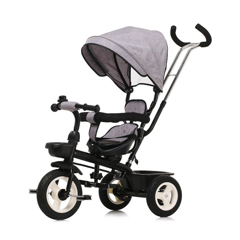LVZAIXI ベビートロリー三輪車ベビーキャリッジバイク子供おもちゃ車Foldableバイラテラルステアリング3チタン車輪保護自転車、(男の子/女の子、6ヶ月-5歳)バイク ( 色 : グレー ) B07CG48RP6 グレー グレー