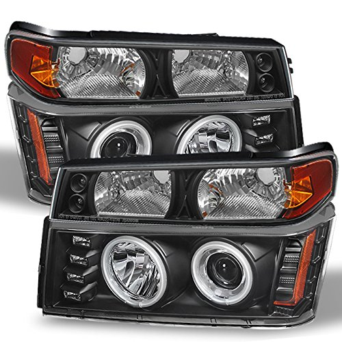 For 2004-2012 Colorado Canyon Black CCFL Projector LED Headlights + Black LED Bumper Signal Lamp Combo