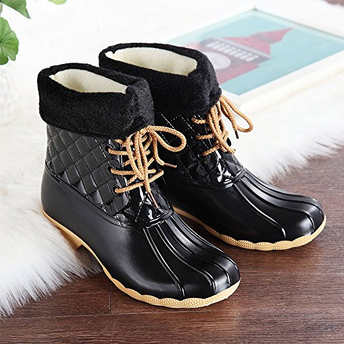 Women Boots Fur Lined Wellies COFACE Boot Ankle Waterproof Wellington Black Rain Pzqqwx
