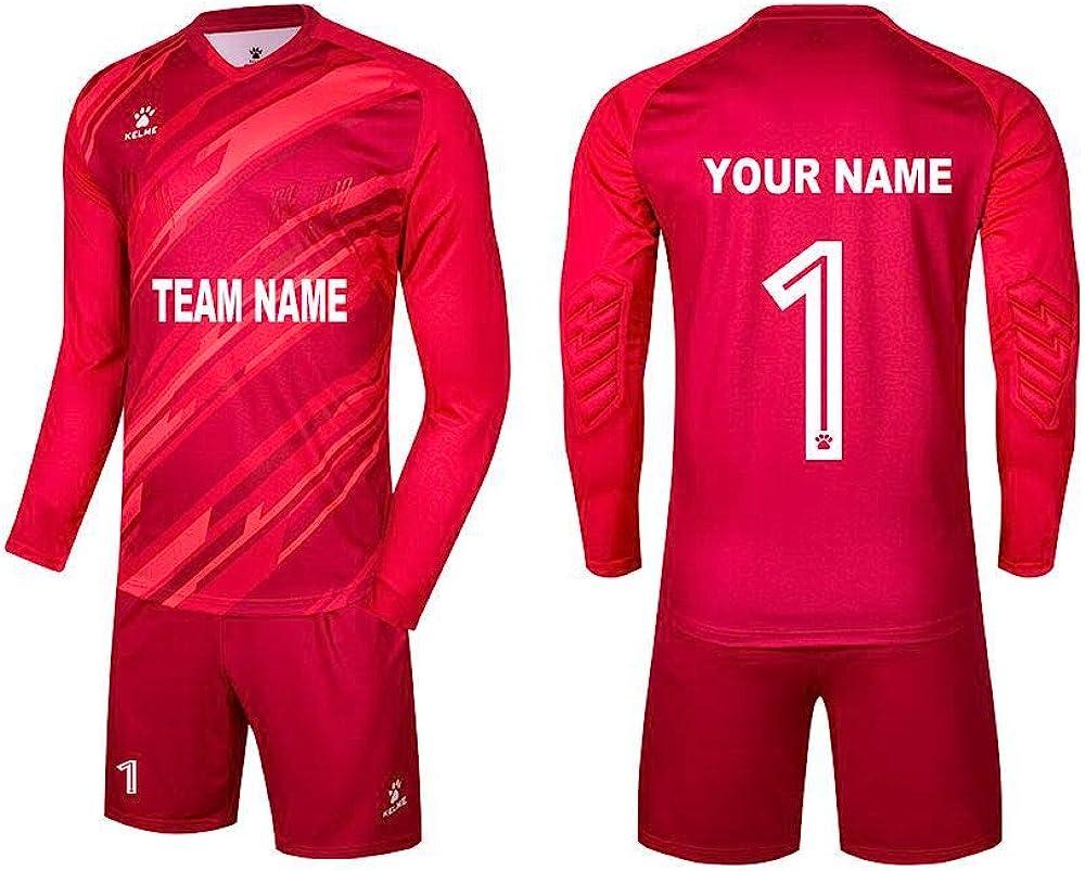 KELME Men Goalkeeper Padded Jersey and Shorts,Youth Soccer Goalie Shirts and Pants,Adult Long Sleeve Keeper Uniform Kit