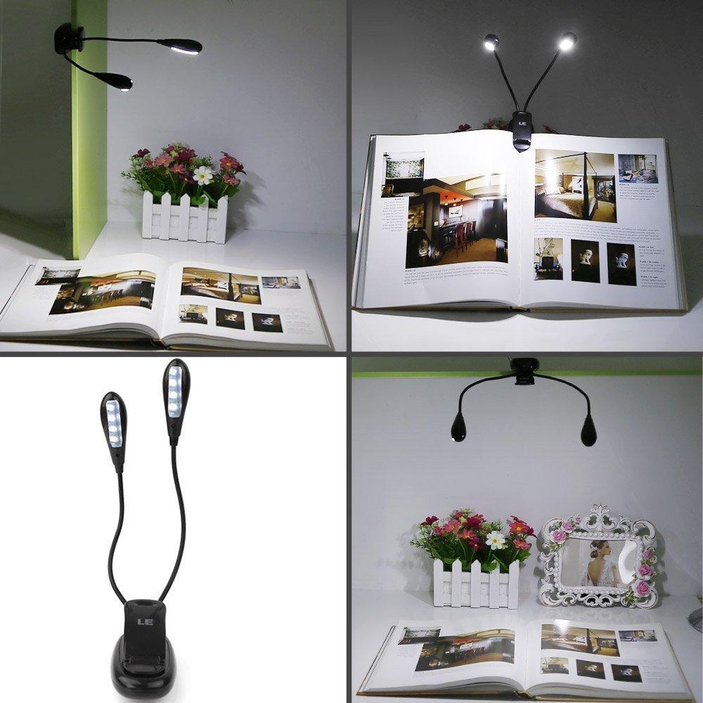 ALED LIGHT Recargable Extra-Brillante de luz LED 4 Libro 2 Brazos Easy Clip On luz de Lectura 2 Ajustes de Brillo