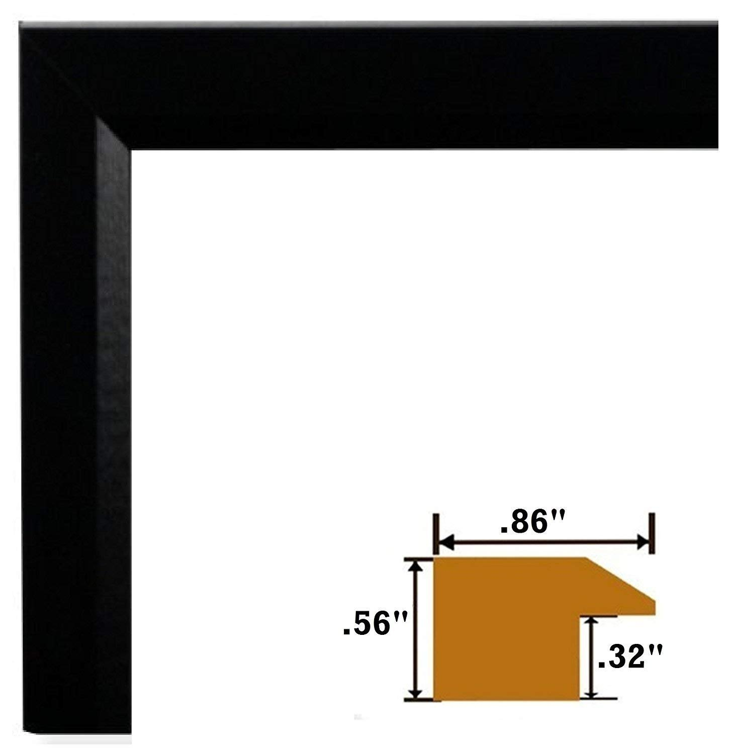 US Art Frames 23 by 35-Inch Picture Frame, Smooth Wrap Finish.86-Inch Wide, Black, Real Poplar Wood