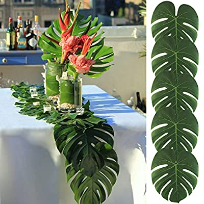 "AerWo 14"" Artificial Tropical Palm Leaves, Safari Birthday Decorations Extra Large Faux Leaf Jungle Hawaiian Party Decorations with Luau Beach Theme Decorations for Table Decoration Accessories, 48pcs - ❤ Big Size in 13.8 x 11.4inch, Larger more than others, can be used as table runner if you stick on them one by one ❤ Soft, vivid imitation makes it looks like the real leaves, fresh natural look with high quality and comfortable touch for durable and reusable uses ❤ Perfect decoration for Hawaiin party Luau party or tropical island style pool party, Christmas In Hawaii party, luau wedding, birthdays, prom, events - table-runners, kitchen-dining-room-table-linens, kitchen-dining-room - 61cmXaLlwHL. SS400  -"
