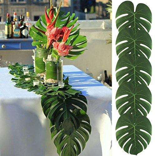 AerWo 48pcs Large Artificial Tropical Palm Leaves, 13.8 by 11.4inch, Hawaiian Luau Party Jungle Beach Theme Decorations for Table Decoration Accessories (Hawaiian Themes For Parties)