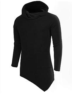 COOFANDY Mens Turtleneck Hip Hop Hipster Slim Fit Fleece Hoodie Pullover  Sweaters 119f9776b