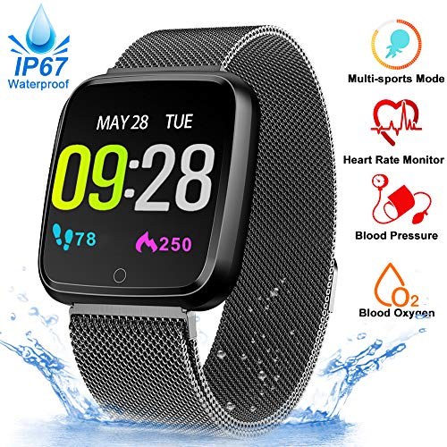 (Fitness Tracker Watch - Blood Oxygen Heart Rate Monitor Blood Pressure Smart Watch, Waterproof Sport Activity Smart Band, Running GPS Tracker Pedometer Calorie Sync SMS Phone Android/IOS)