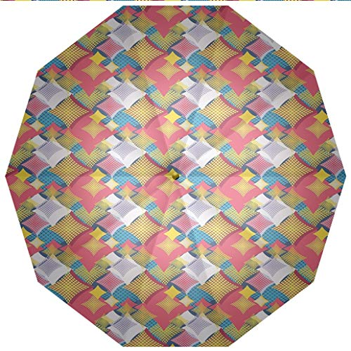 Sun umbrella, umbrellaUV Protection Auto Open Close Abstract,Abstract Geometric Pattern with Square Shapes and Dots Colorful Design Windproof - Waterproof - Men - Women -Lightweight- 45 inches