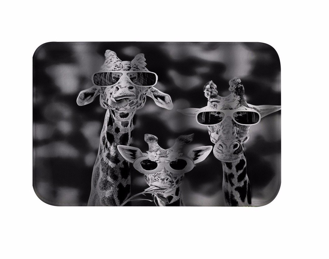 A.Monamour Black And White Image Picture Print Cool Giraffes With Glasses Funny Animal Pattern Soft Flannel Non-Slip Bath Mats Area Rugs Floor Carpets For Baby Kids Safety 40x60cm / 16''x24''