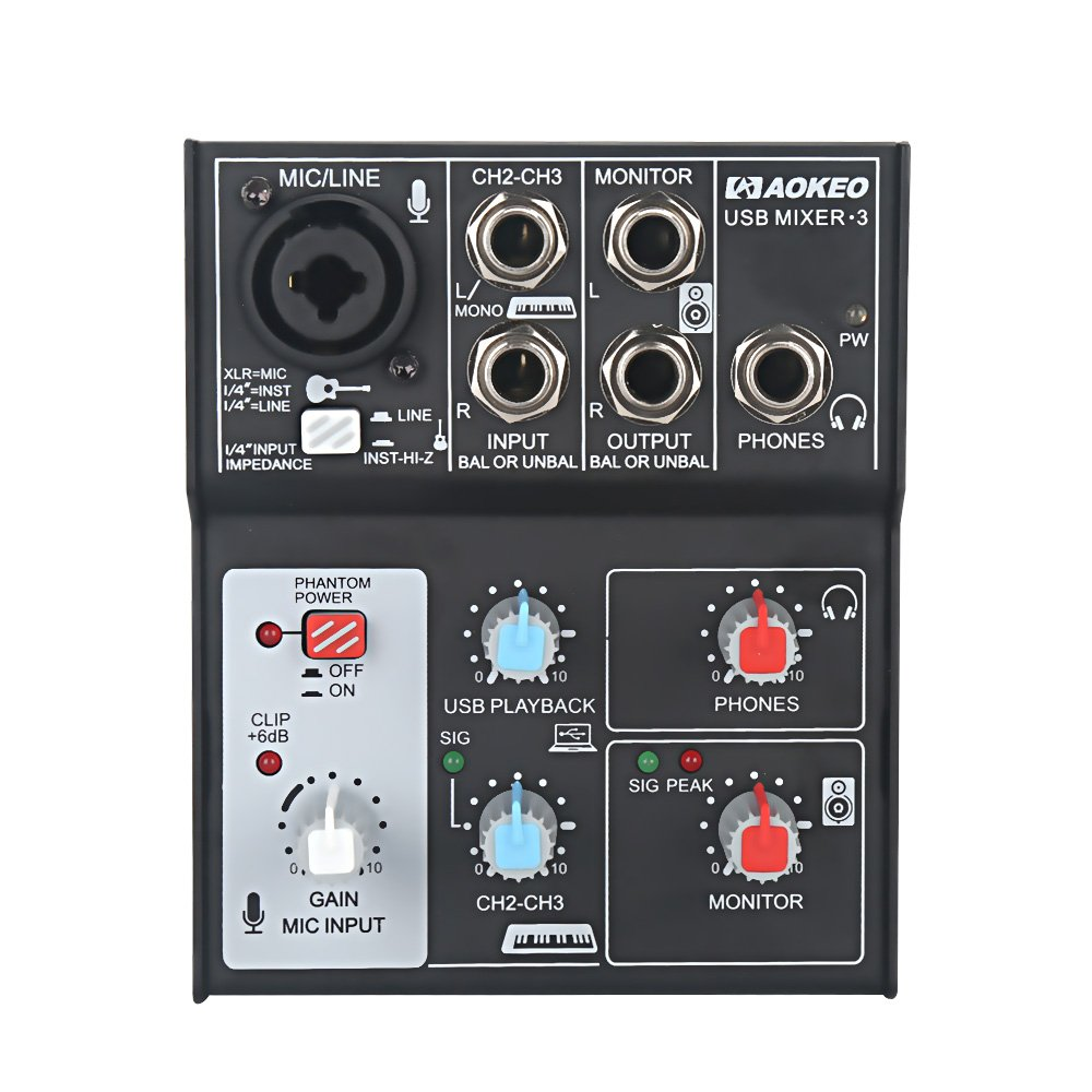 Aokeo Sound Card Audio Mixer, USB Audio Interface, 48V Phantom Power Supply For Condenser Mic - Record On The Computer/Laptop/Macbook/Etc. (Mixer - 3)