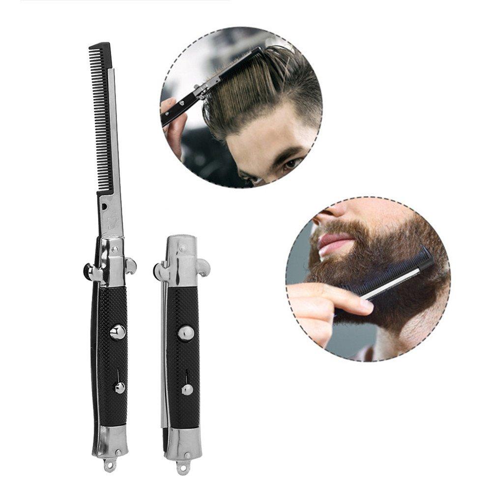 Peigne pliant, peigne à cheveux à l\'huile de poche de printemps outil de beauté automatique de brosse de bouton poussoir de salon Semme